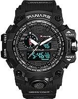 Men's Sport Watch 5 ATM Waterproof Digital Quartz Watch Casual Watch for Men and Women Ø56mm (Black)