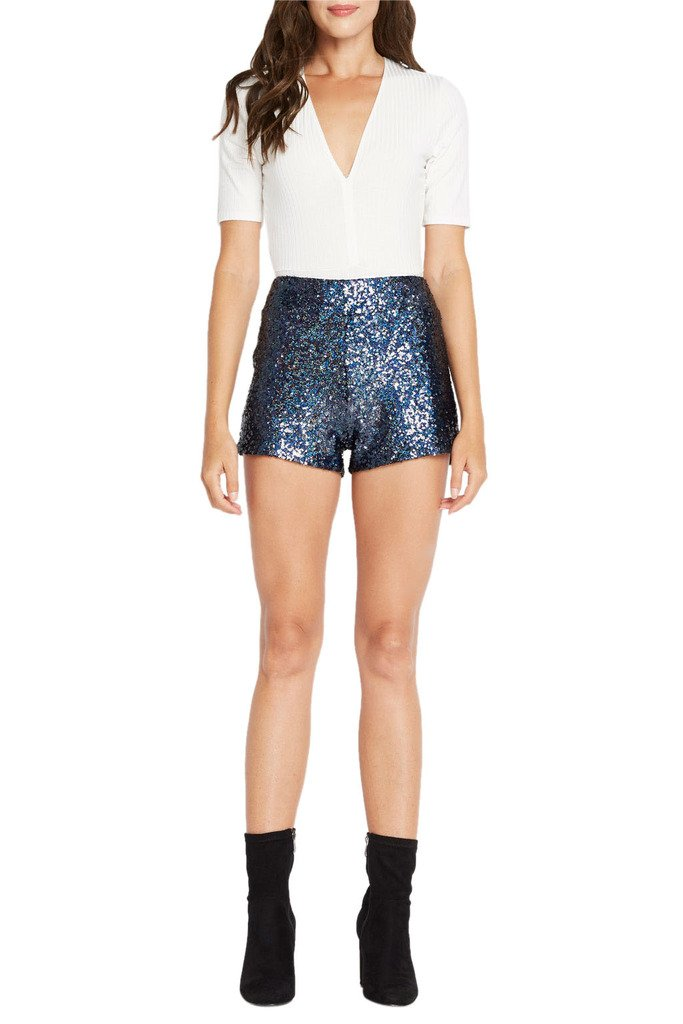 Poshsquare Women's Fashion Trendy Sequin Mini Classic Shining High Rise Waist Short NV S