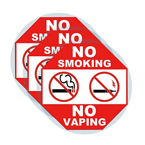 3 Set Warning Signs-No Smoking No Vaping Sign Static Cling Decal Inside Outside Window 6 x 6 Inch Removable and Reusable