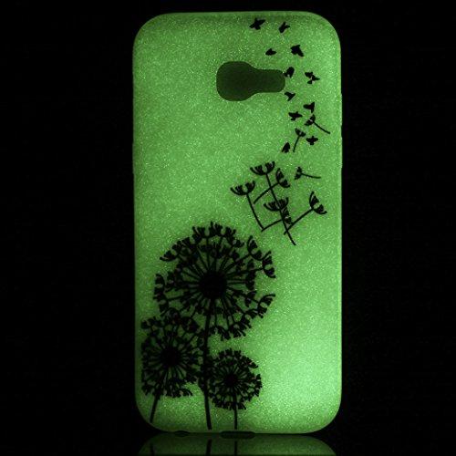 Funda Samsung Galaxy A5 2017 SM-A520F AllDo Carcasa de Silicona Luminoso Brillar en Oscuridad Caja Caucho Translúcido Carcasa Liso Peso Ligero Funda Diseño de Patrones Impresos Caja Suave Flexible Car Diente de León