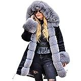 JMETRIE Womens Jacket Winter Long Sleeves Faux Fur Winter Hooded Fishtail Overcoat Coat Parka
