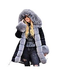 kingf Lady GAGA Thicken Warm Winter Coat Faux Fur Hood Parka Overcoat Long