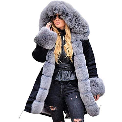 Hunzed Women【Thicken Winter Overcoat Outwear】 Women Faux Fur Coat Hood Parka Long Jacket Outwear (Large, Black 04) ()