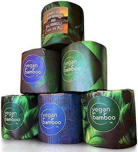 VEGAN BAMBOO Toilet Paper, 100% Organic Bath Tissue, Cruelty Free, 12 Family Mega Rolls, 12 = 45 Regular Rolls, 3 Ply Strong, Earth Friendly Plastic Free