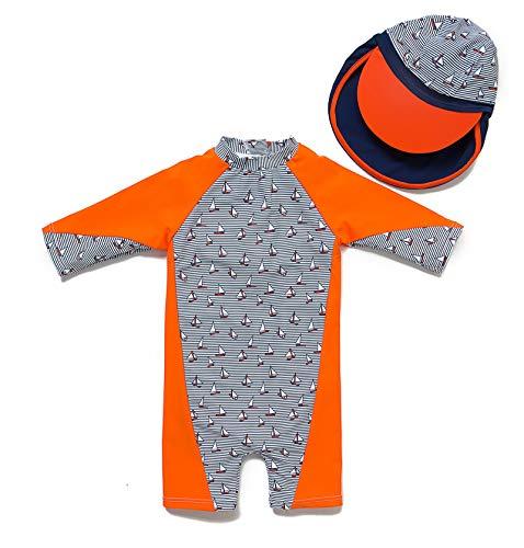 Bonverano(TM Kids UPF 50+ Sun Protection S/S One Piece Zip Sun Suit (3-6 Months, Orange)