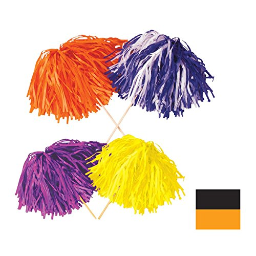 Club Pack of 144 Black and Golden-Yellow Pom Pom Tissue Shakers 16