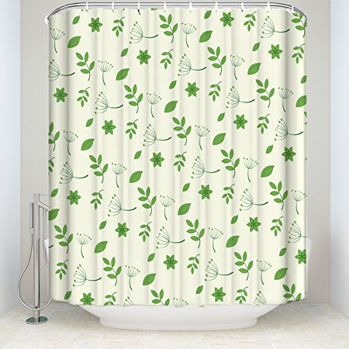 Fresh Off The Boat Costume (EZON-CH Customize Extral Long Large Waterproof Fresh Green Leaves Print Polyester Fabric Home Hotel Apartment Bathroom Shower Curtain 66x72IN)