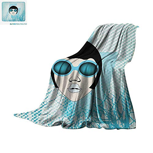 Indie Throw Blanket Retro Woman Portrait with Vintage Sunglasses Short Hair Abstract Trees Print Artwork Image 60