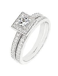 Sterling Silver 2 Pieces Princess Cut CZ Bridal Engagement Wedding Ring Set