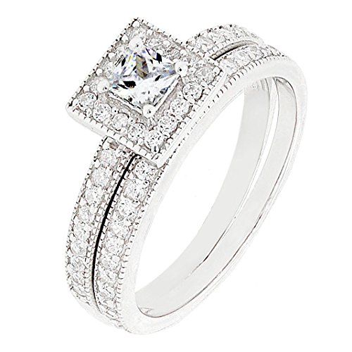 BL Jewelry Sterling Silver 2 Pieces Princess Cut Cubic Zirconia Bridal Engagement Wedding Ring Set (6)