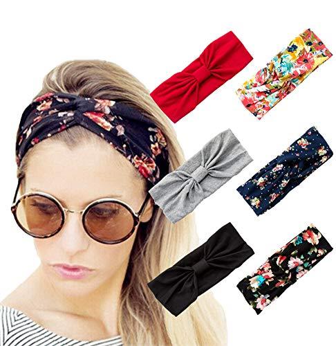 (Vegolita 6 Pack Headbands for Women Girls Yoga Head Wrap Boho Flower Elastic Turban Hair)