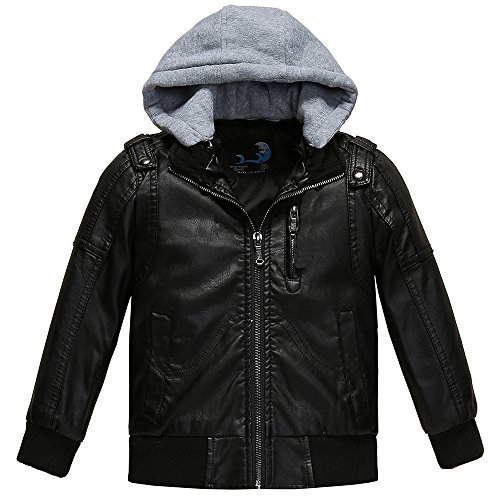 - Budermmy Boys Removable Hood Faux Leather Jacket Outdoor Coats Black 4T