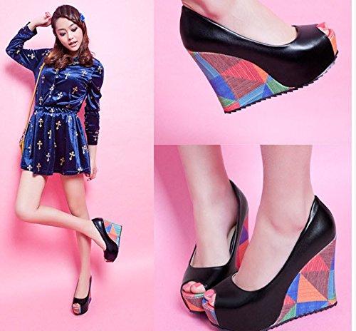 Meijia Womens Ladies Casual High Heel Wedge Platform Peep Toe Court Shoes Sandals Size UK 3-12 Black zJlX3W6