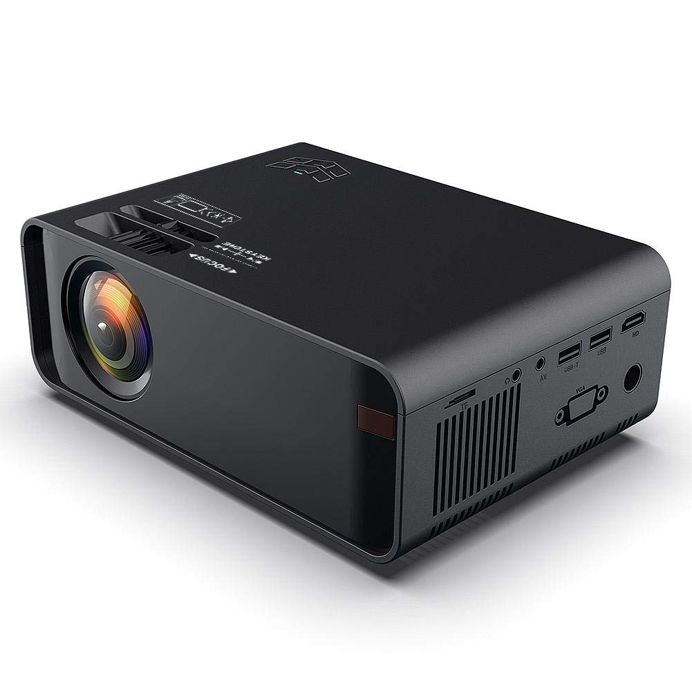 Oumij Black Home Theater WiFi Projector Mini LED HD Bluetooth Projector USB Home Theater for Android 6.0 480P 110-240V (US) by Oumij