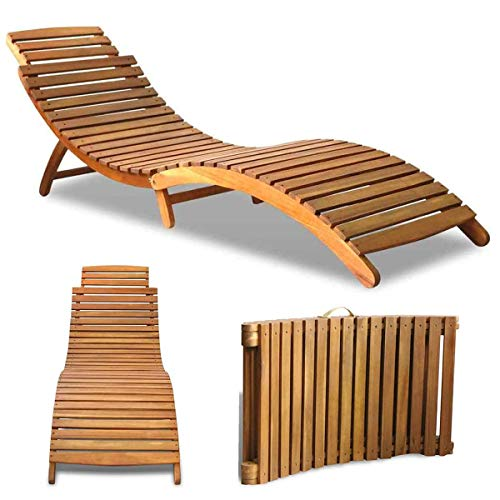 Cirocco Solid Acacia Wood Sun Lounger   Heavy Duty Hardwood Weather & Water Resistant Foldable Durable Natural Charm Ergonomic Design   for Home Garden Porch Patio Backyard Pool Side Indoor Outdoor