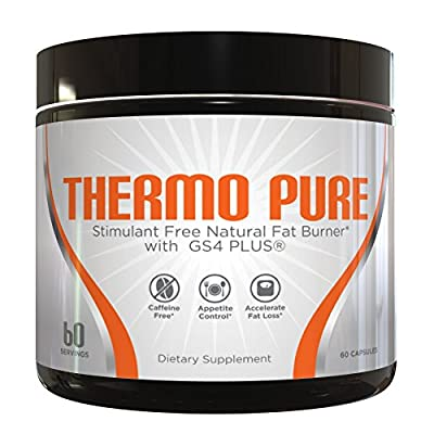 Thermo Pure - Stimulant Free Natural Fat Burner, Caffeine Free Appetite Suppressant & Metabolism Booster for Weight Loss, 60 Veggie Capsules/30 Day Supply