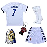 2016/2017 Real Madrid Cristiano Ronaldo #7 Home Football Soccer Kids Jersey & Short & Sock & Soccer Bag Youth Sizes (7-8 YEARS)