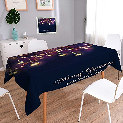 Philiphome Decorative Jacquard Rectangle Tablecloth Christmas and New Year Card with Festive Garland Lights and Light Bulbs Vector Assorted Size -
