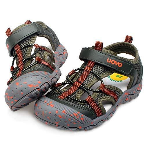 UOVO Kids Boys Sandals Toddler Little Boys Closed Toe Athletic Sport Sandals Hiking Outdoor Summer Sandals (10 M US Little Kid, Khaki)