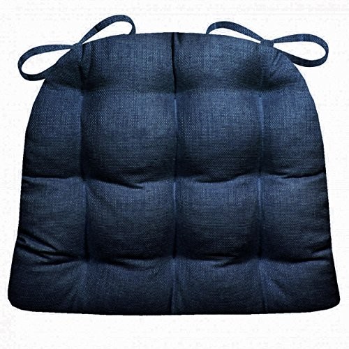 Indoor / Outdoor Dining Chair Pad - Rave Indigo Blue Solid Color Woven Fabric - - Mildew Resistant, Fade Resistant Small Patio Chair Cushion - Reversible, U Shaped (Royal Plantation Outdoor Furniture)
