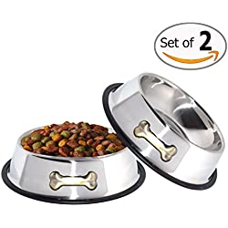 GPET Dog Bowl 32 Oz Stainless Steel Bowls with Anti-Skid Rubber Base for Food or Water Perfect Dish for Dog Puppy Cat and Kitten (32 oz)