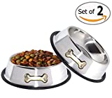 Gpet Dog Bowl 32 Ounce Stainless Steel With Rubber Base that Bowls Wont Slip, Perfect for Puppies and Middle size Dogs (set of 2)