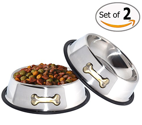(GPET Dog Bowl 32 Oz Stainless Steel Bowls with Anti-Skid Rubber Base for Food or Water Perfect Dish for Dog Puppy Cat and Kitten (2 Pack))