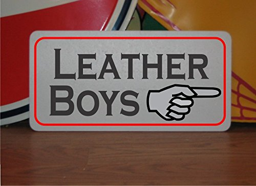 LEATHER BOYS with Finger Arrow Metal Sign BDSM glbt S&M SEX Fetish Decor by SuperSigns
