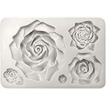 Funshowcase Large 5 Assorted Sizes Roses Resin Fondant Candy Silicone Mold for Sugarcraft, Cake Decoration, Cupcake Topper, Chocolate, Butter, Jewelry, Polymer Clay, Soap Making 13.3x8.5x2.2cm