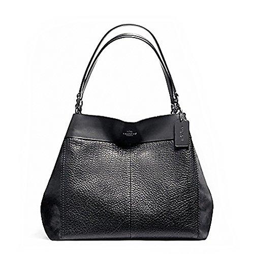 Coach F13940 Lexy Mixed Materials Shoulder Bag - Embossed Coach Bag Shoulder