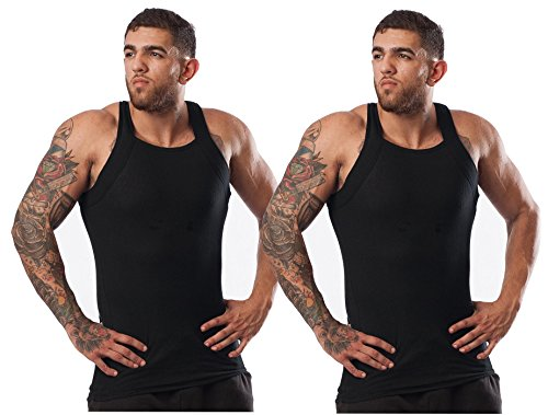 (Different Touch Men's G-unit Style Tank Tops Square Cut Muscle Rib A-Shirts -  X-Large - Black, Pack of 2 )