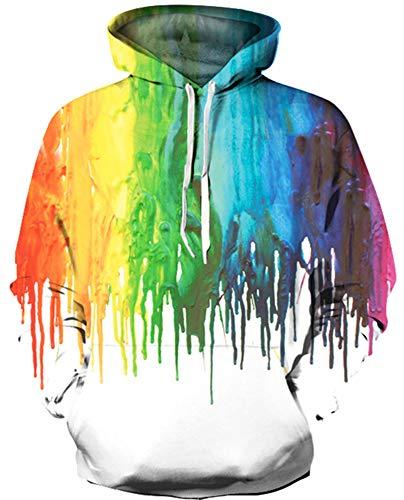 KIDVOVOU Girls Boys 3D Digital Print Hoodies Pullovers Sweatshirts for Teen Junior Kids,11-12 Years Rainbow