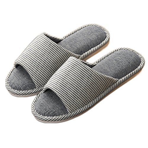 CYBLING House Slippers Open Toe Flax Indoor Cotton Shoes Non-Slip Sandals Sole Navy CP6h7ypR