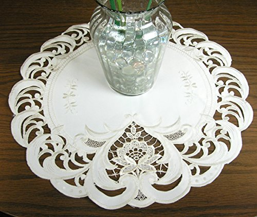 roidered Cream Lace Doily 16 Inch Diameter Round Doilie, Machine Washable Polyester ()