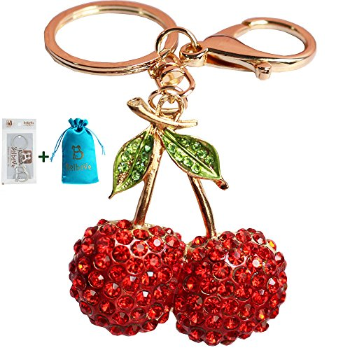 Bolbove Lovely Fruit Cherry with Leaves Keychain Crystal Keyring Rhinestones Purse Pendant Handbag Charm (Red)