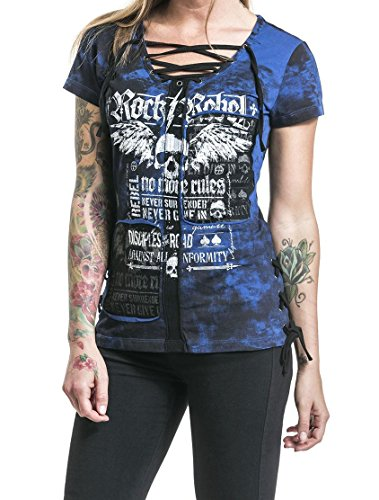 Faaaashion Women's Sexy Lace Up Strappy Neck Gothic Rock Style Skull Print Cotton T-Shirt Tops Blue Color