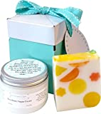 Giftwrapped Shea Butter and Argan Oil Hand Care Gift Set with Handmade Soap in Citrusy Colors and Fruity Sex on the Beach fragrance, wrapped and ready to present