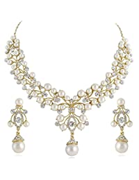 Ever Faith Flower Simulated Pearl Wedding Jewelry Set Clear Austrian Crystal