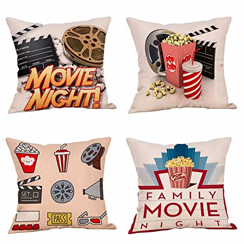 Steven.Smith Movie Theater Cinema Personalized Cotton Linen Square Burlap Decorative Throw Pillow Case Cushion Cover 18 Inch (4 Pack Moive Night)