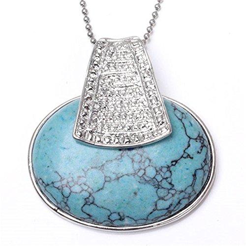Jovivi Women Gift Egypt Style Silver Plated Synthetic Turquoise Gemstone Egg Shape Pendant Leather Necklace (ASX-22)