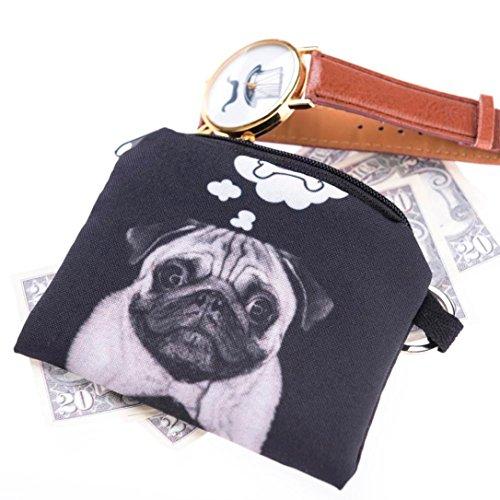 Vovotrade monete di stampa ragazza cambiano frizione borsa cerniera portafoglio pari a zero sacchetti chiave telefono (Nero)