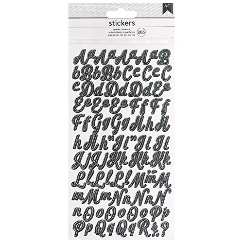 - American Crafts 346652 265 Piece Script Glitter Small Alpha Stickers Black