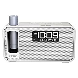 iHome All in One Compact Bluetooth Wireless Dual Alarm Clock with Large Easy to Read Backlit LCD Display Plus K-CELL Portable Battery Pack (White)