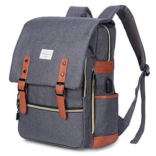 Modoker Vintage Laptop Backpack for Women Men,School College Backpack with USB Charging Port Fashion Backpack Fits 15 inch Notebook (Grey-Function Update)