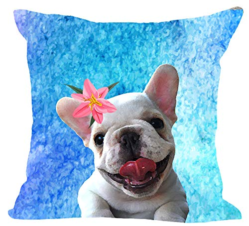 - Oil Painting Family Pet Dog Pug Lily Cool Blue Background Cotton Linen Square Throw Waist Pillow Case Decorative Cushion Cover Pillowcase Sofa 18