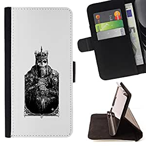 SKULL POSTER POKER KING CARD DEATH/ Personalizada del estilo del dise???¡Ào de la PU Caso de encargo del cuero del tir????n del soporte d - Cao - For Samsung Galaxy S5 Mini, SM-G800