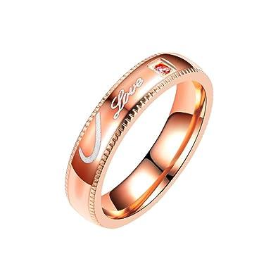 054b1ca7f4b89e Amazon.com  super1798 Fashion Love Rhinestone Inlay Couple Ring Romantic  Jewelry Gift  Jewelry