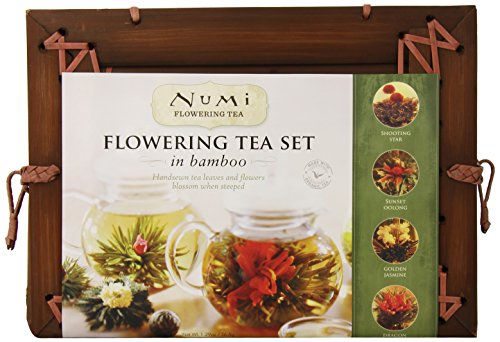 Numi Organic Tea Flowering Gift Set in Handcrafted Mahogany Bamboo Chest Glass Teapot & 6 Flowering Tea Blossoms