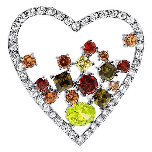 - Gem Avenue 925 Sterling Silver Heart Multicolor Cubic Zirconia Slide Pendant