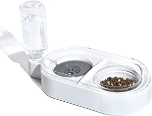 Companet Pet Feeders,Automatic Water Injection,Detachable Dog Glass Feeder Bowl,No-Spill Pet Food Water Bowls for Cats and Small Dog